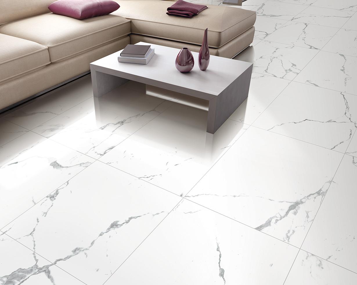 White Porcelain Floor Tile Kitchen