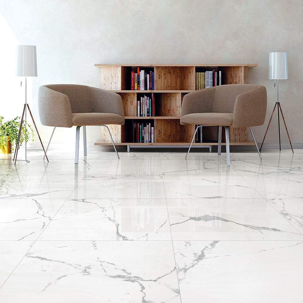 Pietra Statuario Polished 60x60cm Wall or Floor Tile - FYLDE TILES